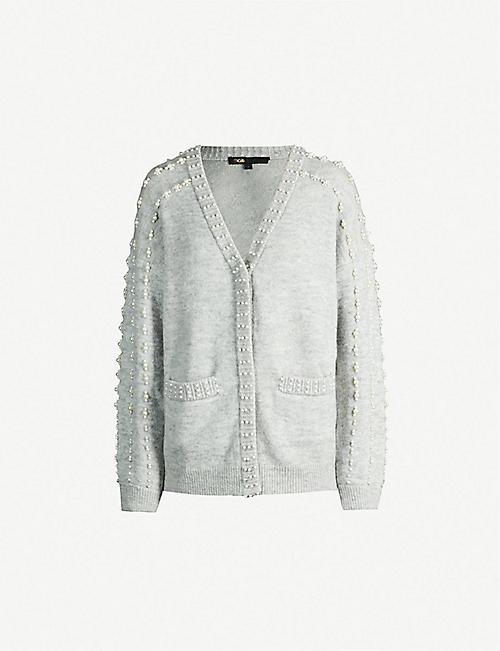 MAJE Pearl-embellished knitted cardigan da0b3bf3a