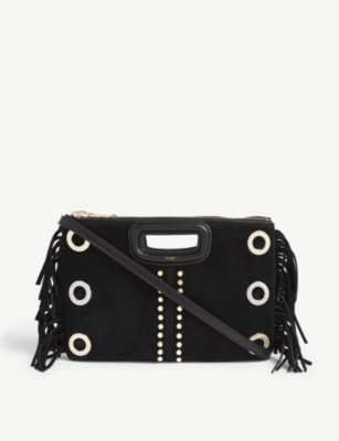 MAJE Maje suede eyelet Duet cross-body bag