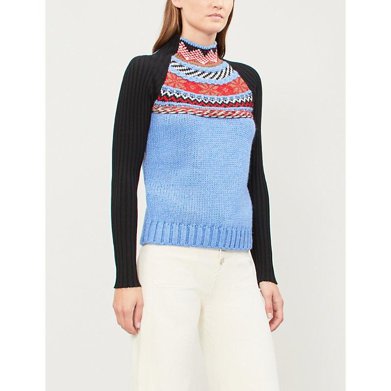 Jacquard Knit Funnelneck Sweater in Multico