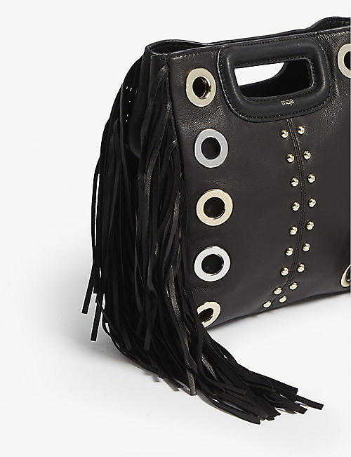 MAJE Leather fringed M shoulder bag