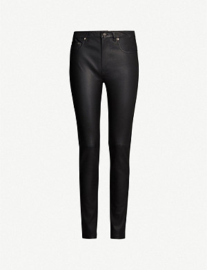 MAJE Paknife high-rise leather trousers