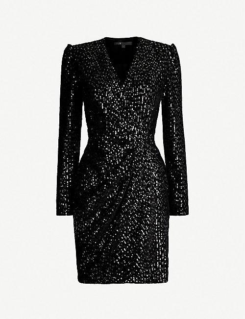 d9c52f6c903 MAJE Wrap-over sequin-embellished velvet dress