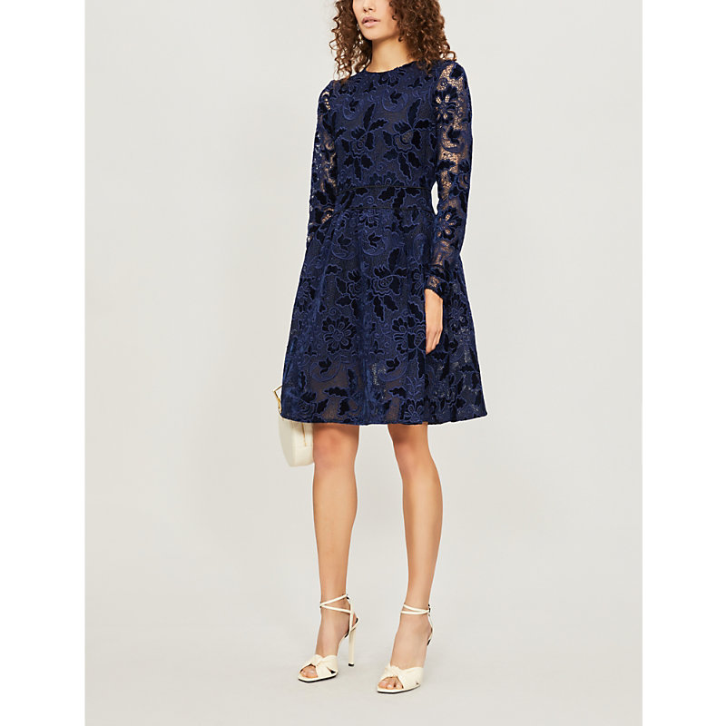 Role Guipure Lace Fit & Flare Dress in Marine