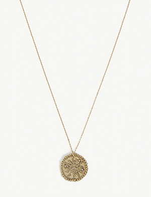 MAJE Soleil brass coin pendant necklace