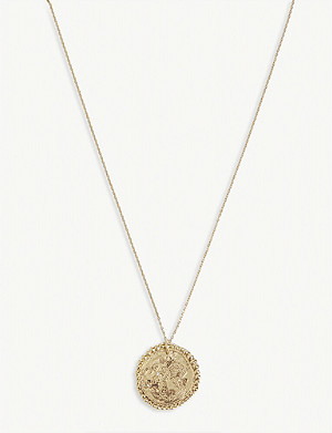 MAJE Aquarius zodiac brass coin necklace