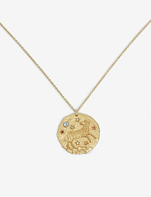 MAJE Aries zodiac brass coin necklace