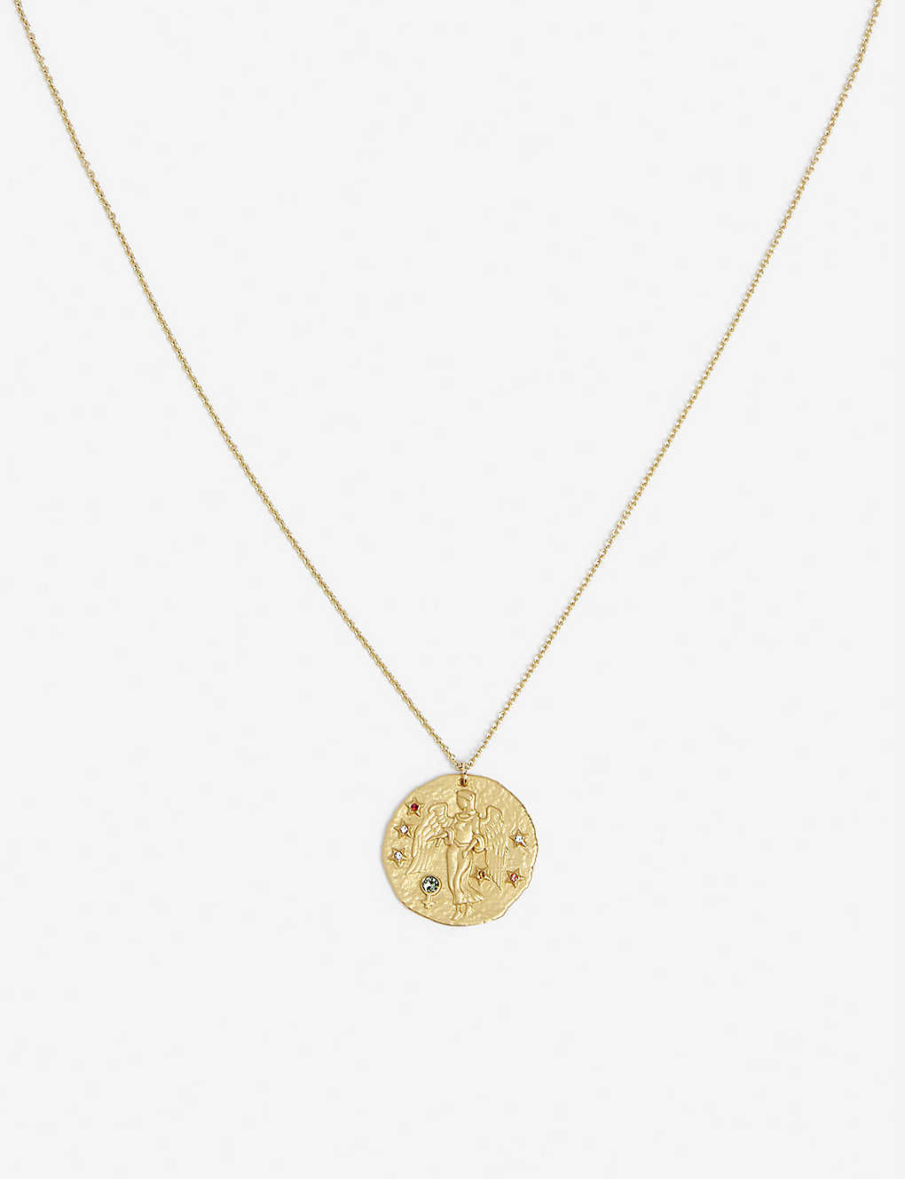 MAJE: Virgo zodiac brass coin necklace
