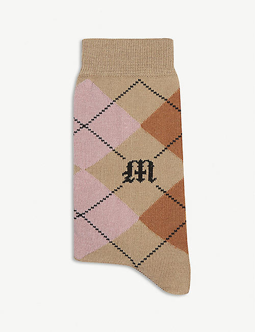 MAJE Cotton-blend jacquard print socks