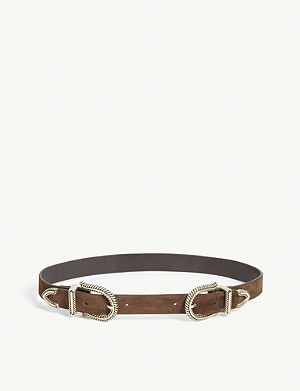 MAJE Ariol high-waisted double buckle suede belt
