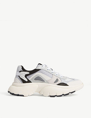 MAJE Faster leather and suede trainers