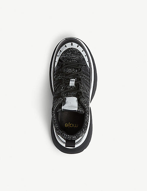 MAJE Fastest mesh leather trainers