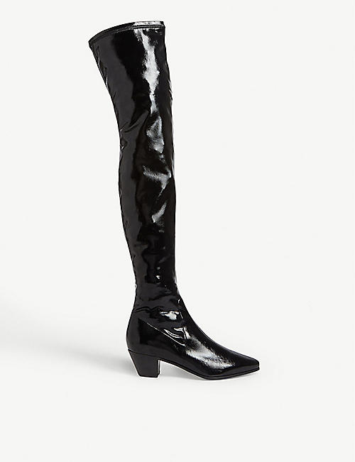 MAJE Flikui stretch vinyl thigh boots