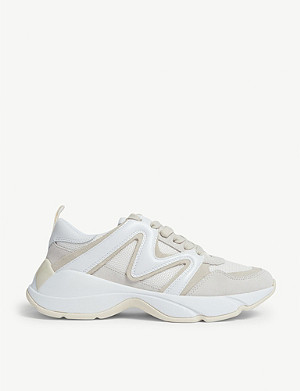 MAJE W22 mesh and leather trainers