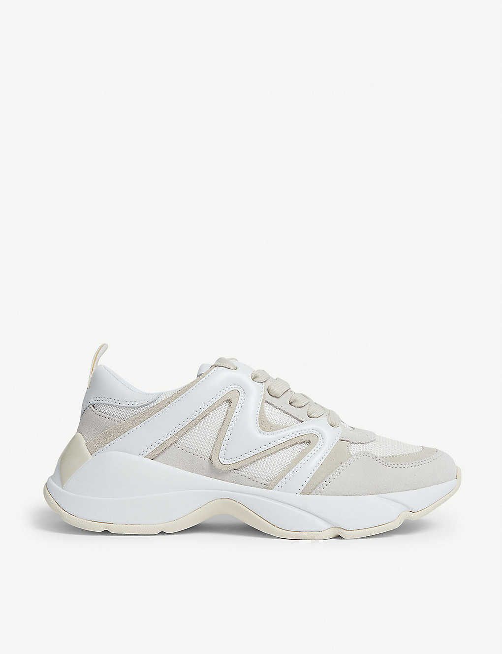 MAJE: W22 mesh and leather trainers