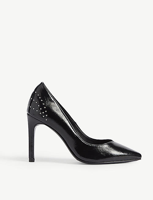 MAJE Flori studded leather court shoes