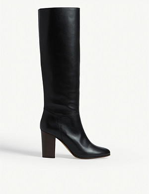 MAJE Flity leather knee-high boots