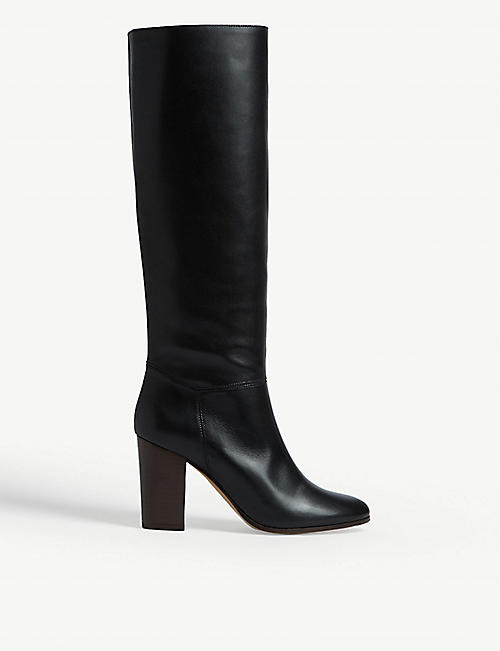 MAJE: Flity leather knee-high boots