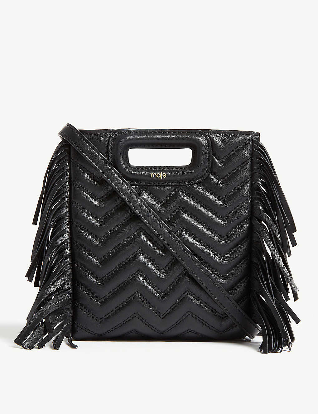MAJE: Fringed quilted leather M cross-body bag