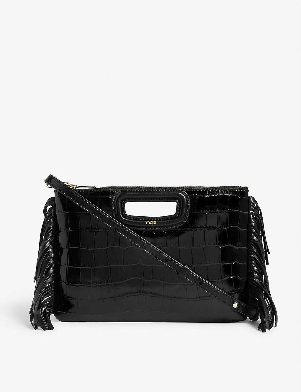 MAJE: M Duo croc-embossed leather clutch