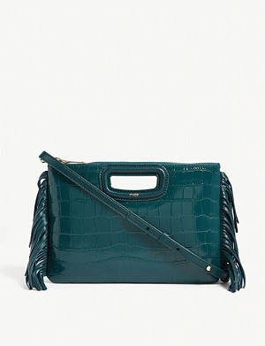 MAJE M Duo croc-embossed leather clutch