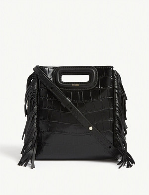 MAJE Croc-embossed mini leather M bag