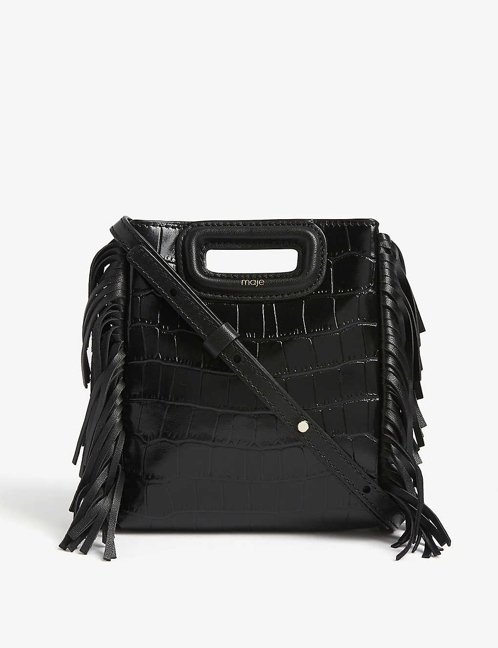 MAJE: Croc-embossed mini leather M bag