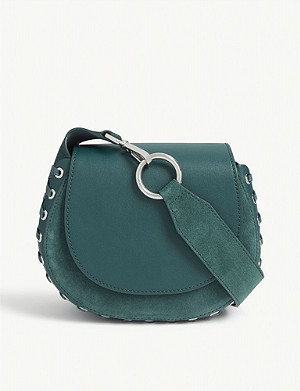 MAJE Leather and suede saddle bag