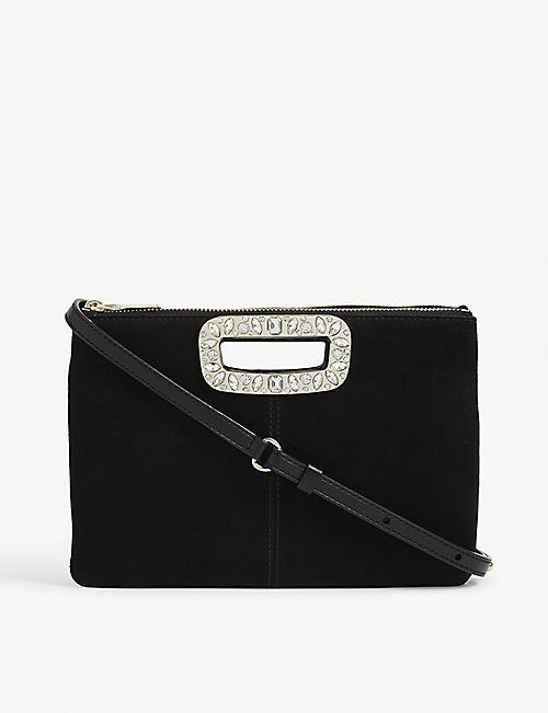 MAJE M Duo suede and leather clutch crossbody bag
