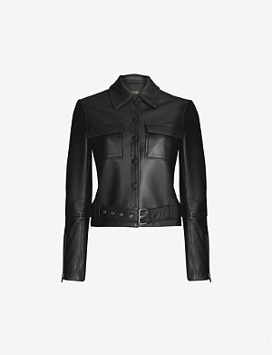 MAJE Blizalia long-sleeved leather jacket
