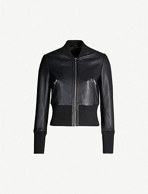 MAJE Blotine leather bomber jacket