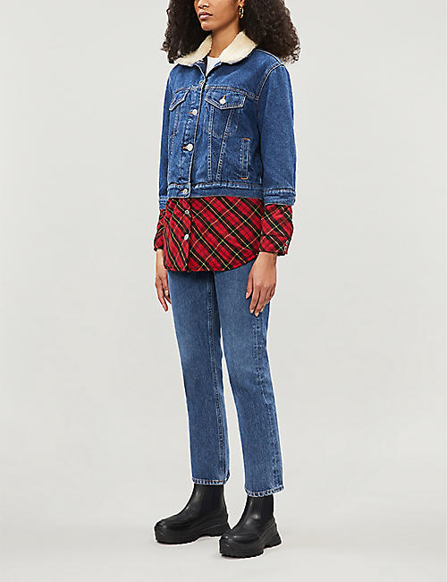 MAJE Trompe-L'oeil plaid and denim jacket