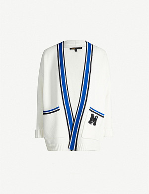 MAJE Millennium collarless striped-trim knit cardigan