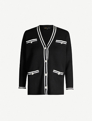 MAJE Myster contrast-trim knitted cardigan