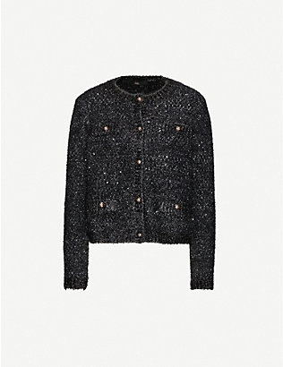 MAJE: Sequin-embellished stretch-knit cardigan