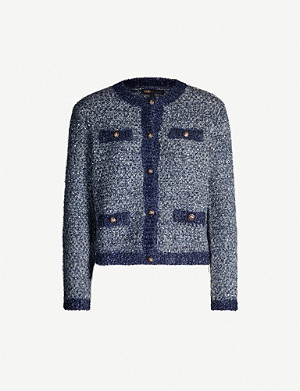 MAJE Sequin-embellished stretch-knit cardigan
