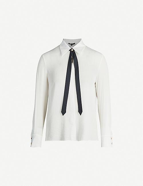 MAJE Charline contrasting bow tie crepe shirt