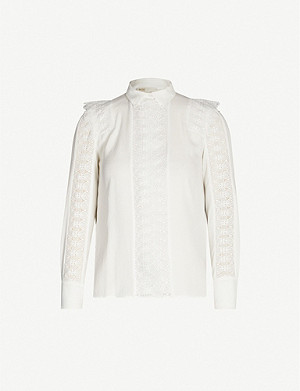 MAJE Crochet-lace panel crepe blouse