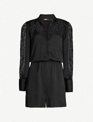MAJE Ines floral-lace trimmed crepe playsuit