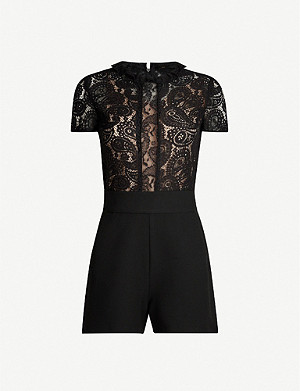 MAJE Ilo ruffled-trim lace-panelled crepe playsuit