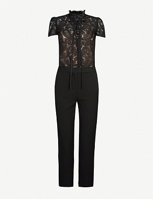 MAJE Lace and crepe jumpsuit