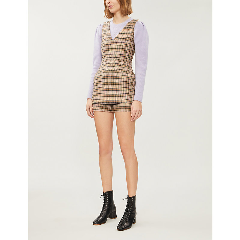 Maje Suits IRILO V-NECK CHECKED WOOL-BLEND PLAYSUIT