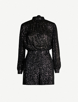 MAJE Sequin-embellished woven playsuit
