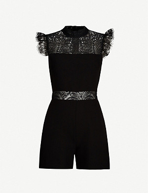 MAJE Ruffled stretch-lace and ponté playsuit