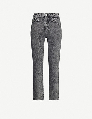 MAJE Pierre faded straight mid-rise jeans