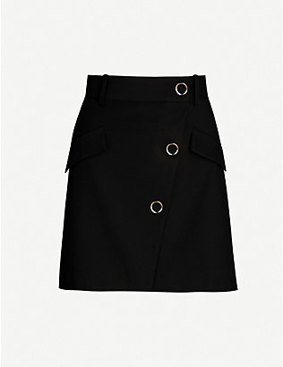 MAJE: Jana asymmetric buttoned-front cotton-blend mini skirt