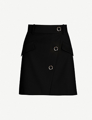 MAJE Jana asymmetric buttoned-front cotton-blend mini skirt