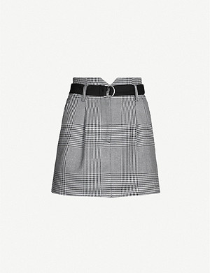MAJE Jadie checked woven mini skirt