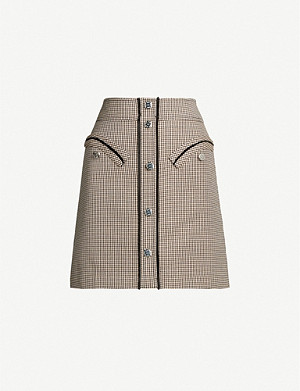 MAJE Houndstooth twill mini skirt