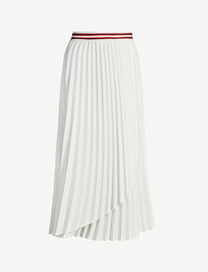 MAJE Jouli pleated woven midi skirt