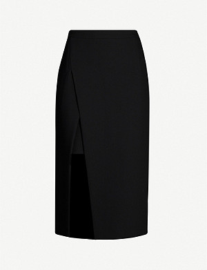 MAJE Jeanne high-waist fitted crepe midi skirt